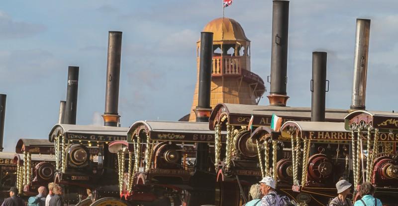 Showmans Engine Lineup at The Great Dorset Steam Fair.