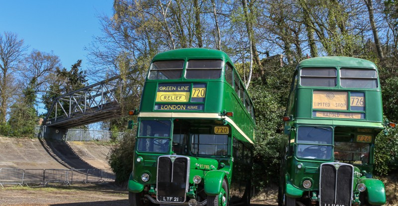 Pair of RT75 buses at the Brooklands racetrack