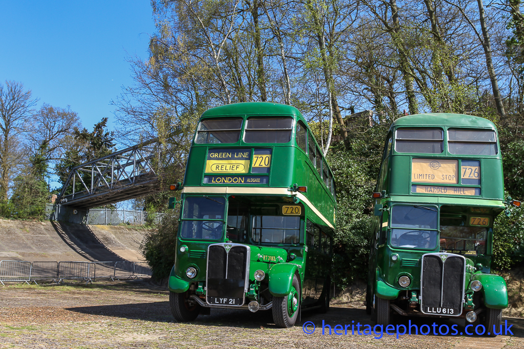 RT buses by the famous Brooklands racetrack and bridge
